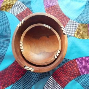 Wood Bowls with bone accents- 6 in.